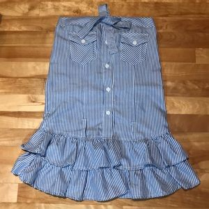Tops - Striped Strapless Top with Buttons
